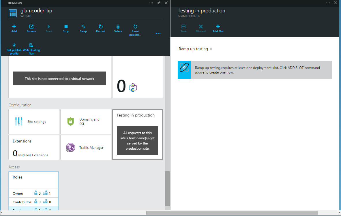 Add Azure Websites Testing in Production Slot