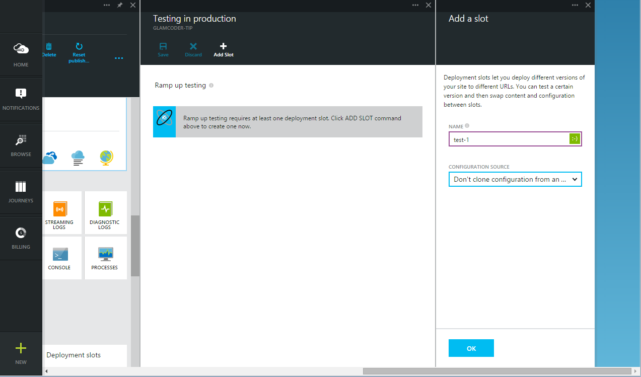 Add new slot for Azure Websites Testing in Production