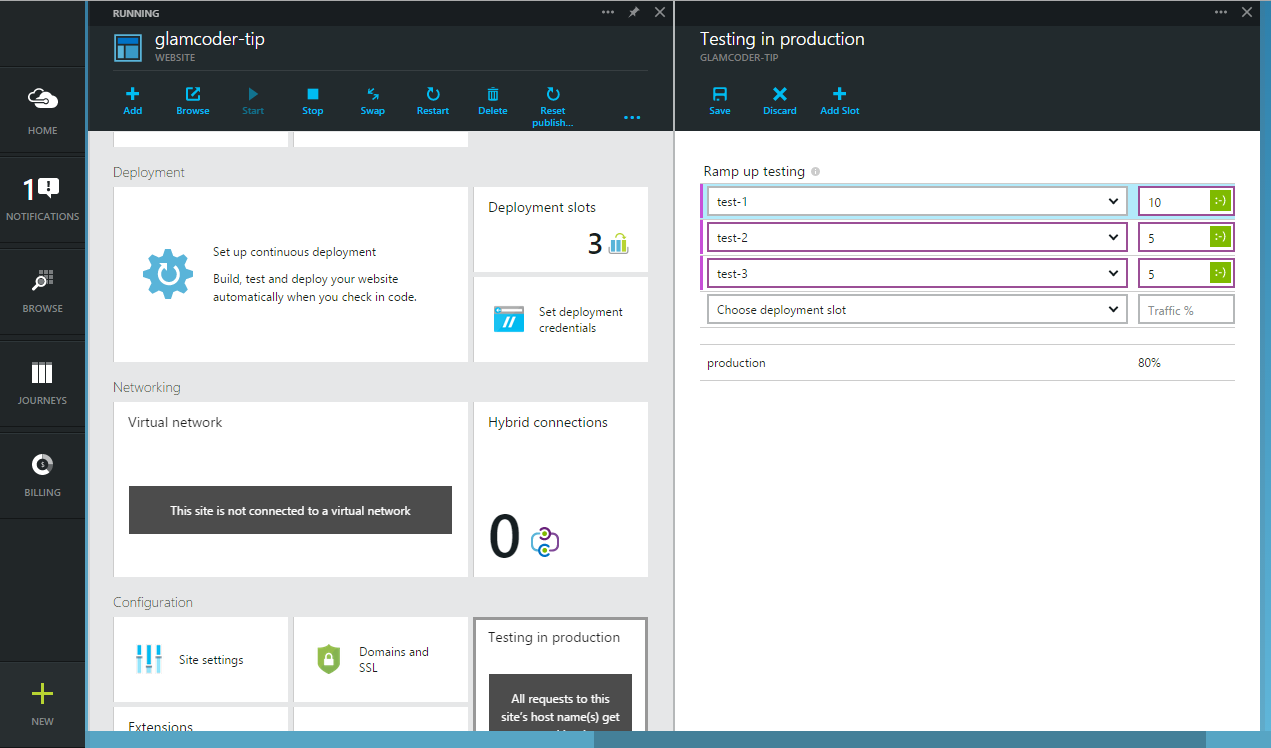 Azure Websites Testing in Production slots configuration