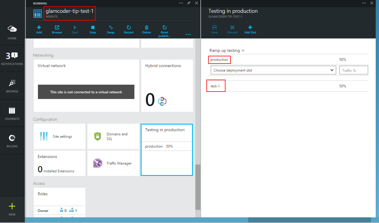 Azure Websites Testing in Production